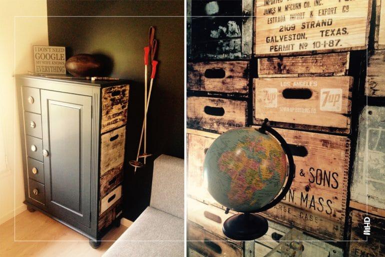 Zoom sur l'ameublement et la décoration du coin bureau. Un globe sur le côté gauche de la photo et une armoire sur le côté droit. Des couleurs sombres et un esprit chaleureux.