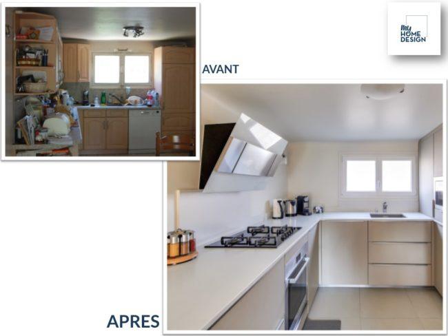 """2 photos : une photo """"Avant"""" de la cuisine aux meubles anciens très encombrée. Une photo """"Après"""" avec une cuisine en U blanche, très épurée"""