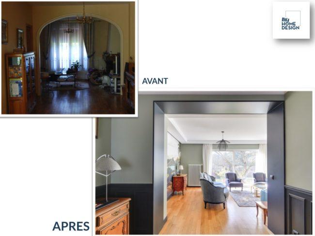 """2 photos : une photo """"Avant"""" du couloir encombré. Une photo """"Après"""" du couloir revisité dans un style plus contemporain"""