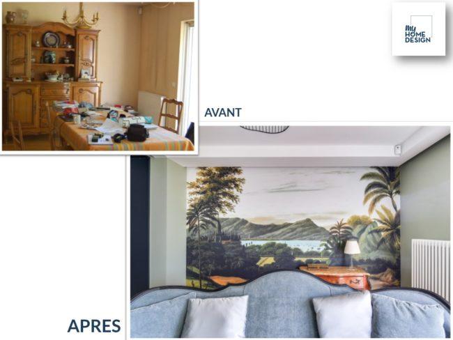 """2 photos : une photo """"Avant"""" d'une salle à manger encombrée par du mobilier ancien imposant. Une photo """"Après avec un coin salon et un papier peint panoramique"""