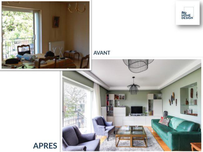 """2 photos : une photo """"Avant"""" d'une salle à manger. Une photo """"Après"""" le même espace, mais la salle à manger est devenue un salon"""