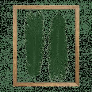 cadre herbier cycas deux feuilles vert cactus