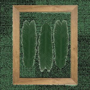cadre herbier cycas 3 feuilles vertes