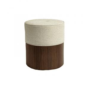 Pouf coloris bois noyer tissus blanc