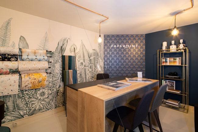Espace matériauthèque - Papiers peints Jardin Pamplemousse & PaperMint - Carreaux ciment Mosaic del Sur