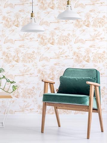 Papier peint paper mint freda oasis-toile-jouy
