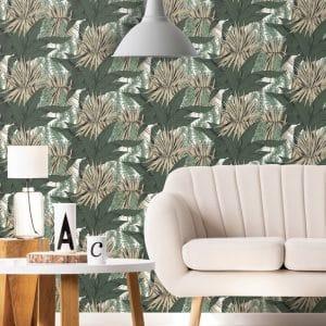 Papier peint paper mint herbier tropical_beige_low
