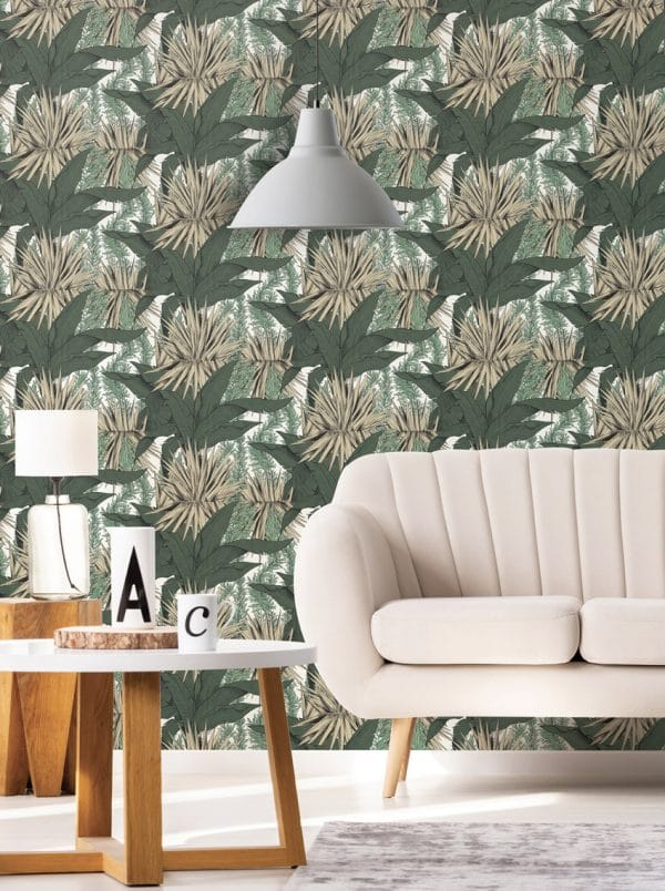 Papier peint paper mint herbier tropical_beige_low