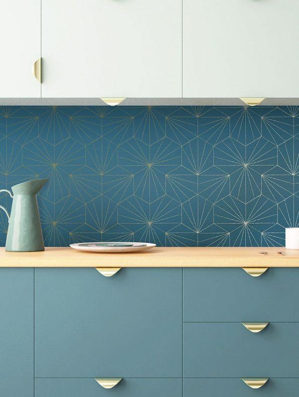 Papier peint paper mint geometrique_tiles_ambiance_bleudore_1