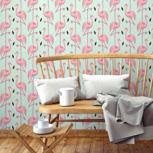 Papier peint paper mint summer_flamingo_ambiance_rosevert