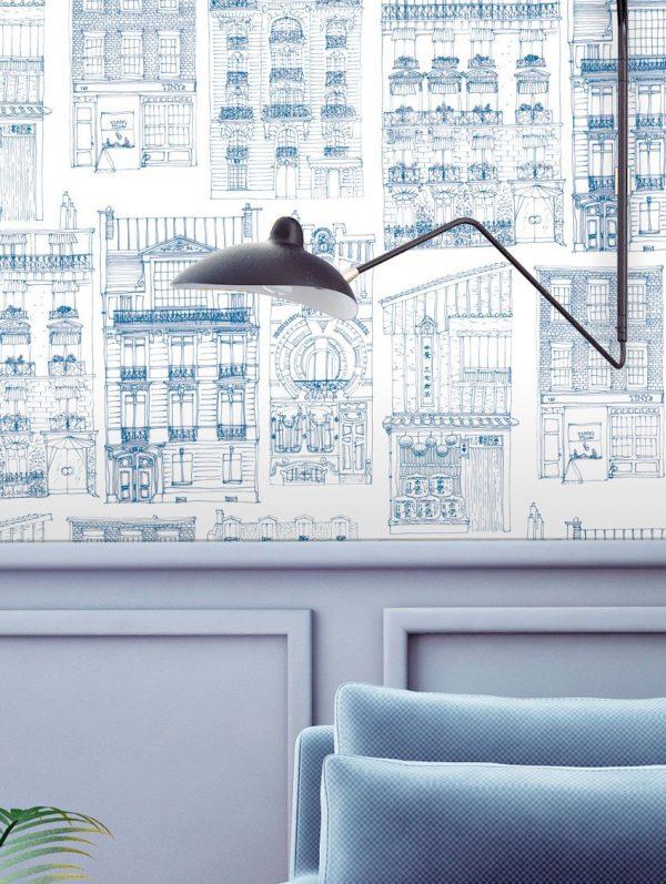 Papier peint paper mint city_ambiance_bleu