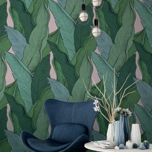 Papier peint paper mint evasion_leaf_ambiance_vert