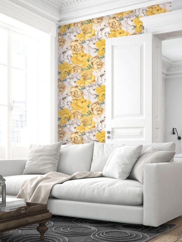 Papier peint paper mint vegetal_paeonia_ambiance_jaune_1