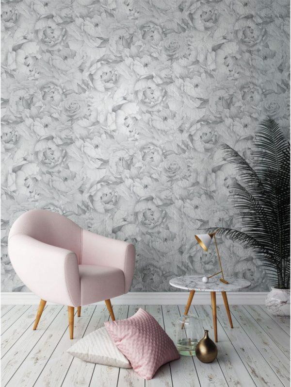 Papier peint paper mint vegetal_paeonia monochrome_ambiance_grisargent