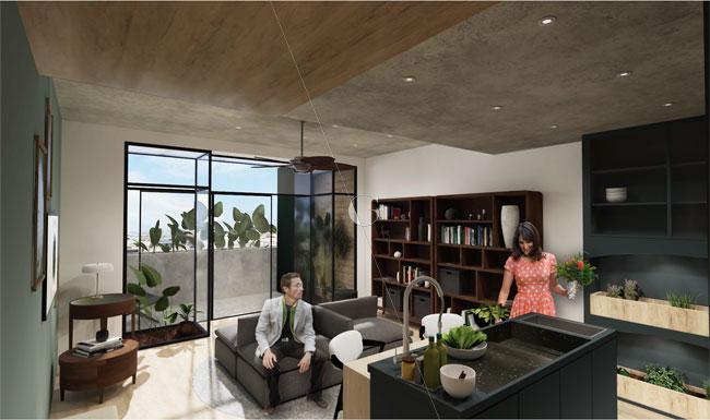Appartement-témoin-dans-10-ans-Atelier-Germain-_-pièce-de-vie-ouverte-sur-l'extérieur-_-patio-intérieur-végétalisé